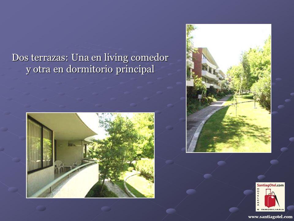 Dos terrazas: Una en living comedor y otra en dormitorio principal www.santiagotel.com