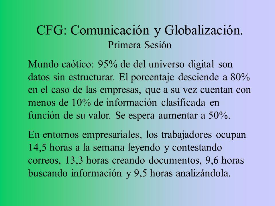 CFG: Comunicación y Globalización. Primera Sesión Mundo caótico: 95% de del universo digital son datos sin estructurar. El porcentaje desciende a 80%