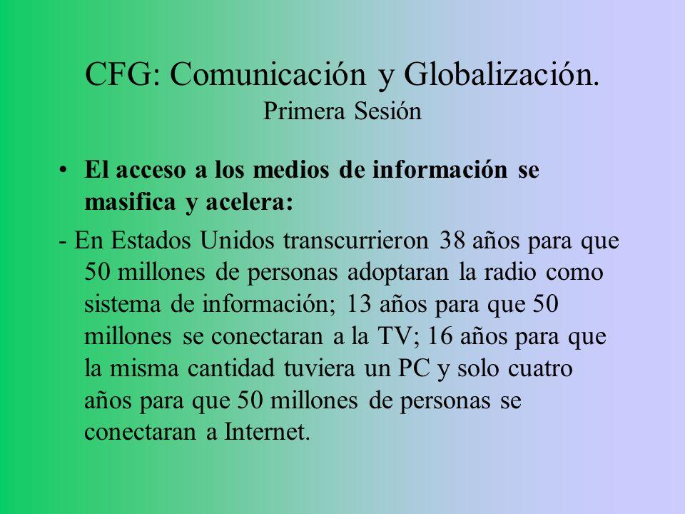 CFG: Comunicación y Globalización. Primera Sesión El acceso a los medios de información se masifica y acelera: - En Estados Unidos transcurrieron 38 a