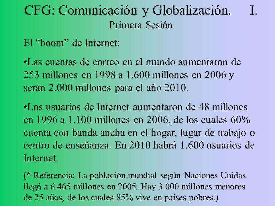 CFG: Comunicación y Globalización. I. Primera Sesión El boom de Internet: Las cuentas de correo en el mundo aumentaron de 253 millones en 1998 a 1.600