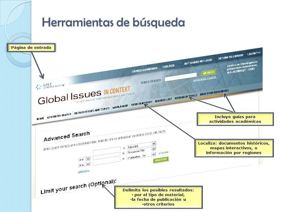 Herramientas de búsqueda Página de entrada Incluye guías para actividades académicas Localiza: documentos históricos, mapas interactivos, o información por regiones Delimita los posibles resultados: por el tipo de material, la fecha de publicación u otros criterios