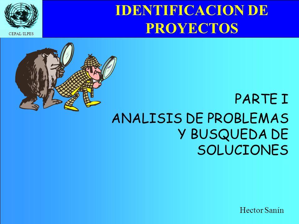 CEPAL/ILPES IDENTIFICACION DE PROYECTOS PARTE I ANALISIS DE PROBLEMAS Y BUSQUEDA DE SOLUCIONES Hector Sanín