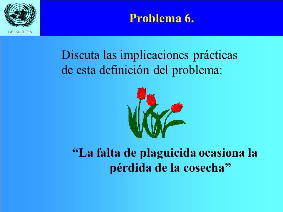 CEPAL/ILPES Problema 6. La falta de plaguicida ocasiona la pérdida de la cosecha Discuta las implicaciones prácticas de esta definición del problema: