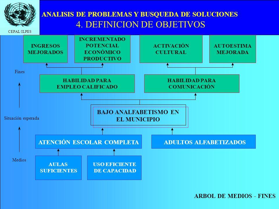 CEPAL/ILPES ANALISIS DE PROBLEMAS Y BUSQUEDA DE SOLUCIONES 4. DEFINICION DE OBJETIVOS BAJO ANALFABETISMO EN EL MUNICIPIO HABILIDAD PARA EMPLEO CALIFIC