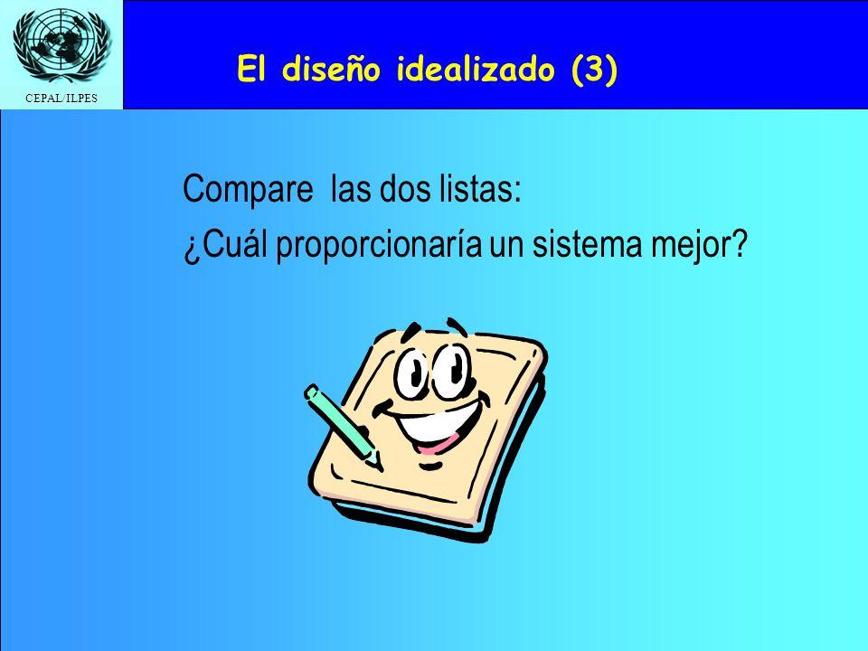 CEPAL/ILPES Compare las dos listas: ¿Cuál proporcionaría un sistema mejor? El diseño idealizado (3)
