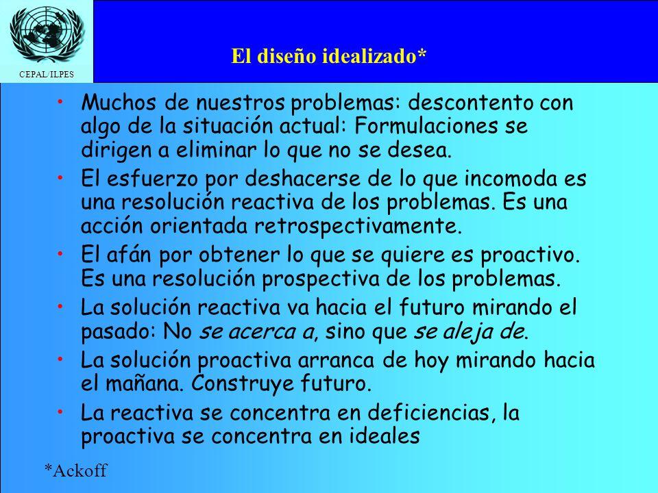 CEPAL/ILPES El diseño idealizado* Muchos de nuestros problemas: descontento con algo de la situación actual: Formulaciones se dirigen a eliminar lo qu