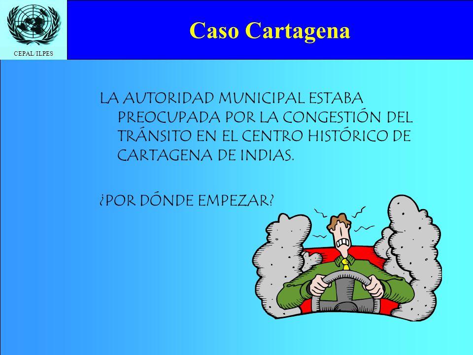 CEPAL/ILPES Caso Cartagena LA AUTORIDAD MUNICIPAL ESTABA PREOCUPADA POR LA CONGESTIÓN DEL TRÁNSITO EN EL CENTRO HISTÓRICO DE CARTAGENA DE INDIAS. ¿POR