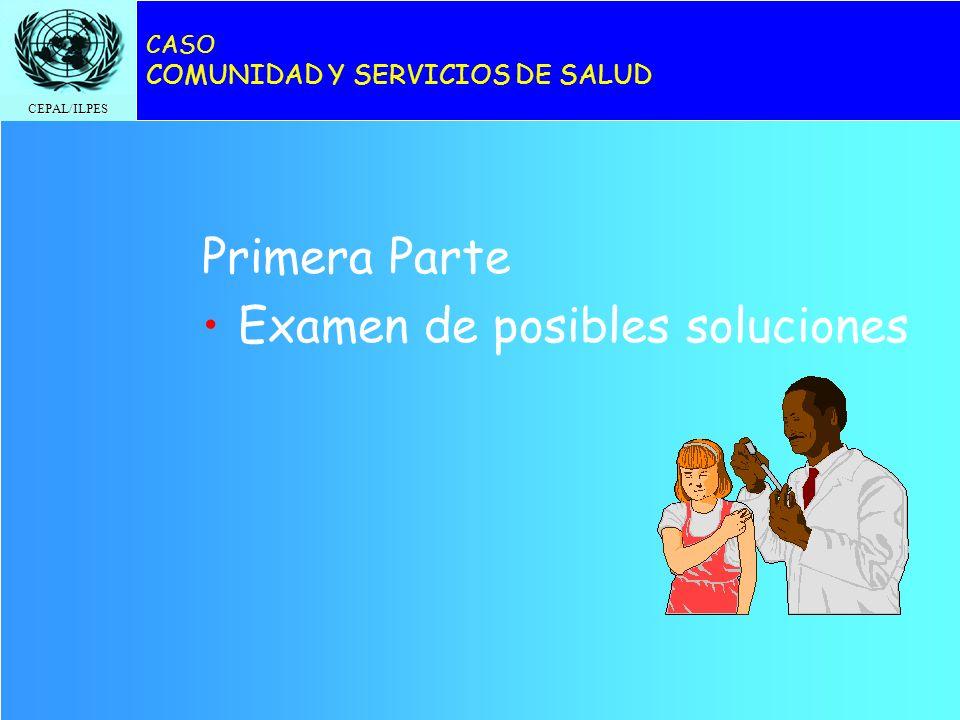 CEPAL/ILPES CASO COMUNIDAD Y SERVICIOS DE SALUD Primera Parte Examen de posibles soluciones