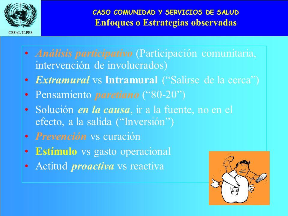 CEPAL/ILPES CASO COMUNIDAD Y SERVICIOS DE SALUD Enfoques o Estrategias observadas Análisis participativo (Participación comunitaria, intervención de i