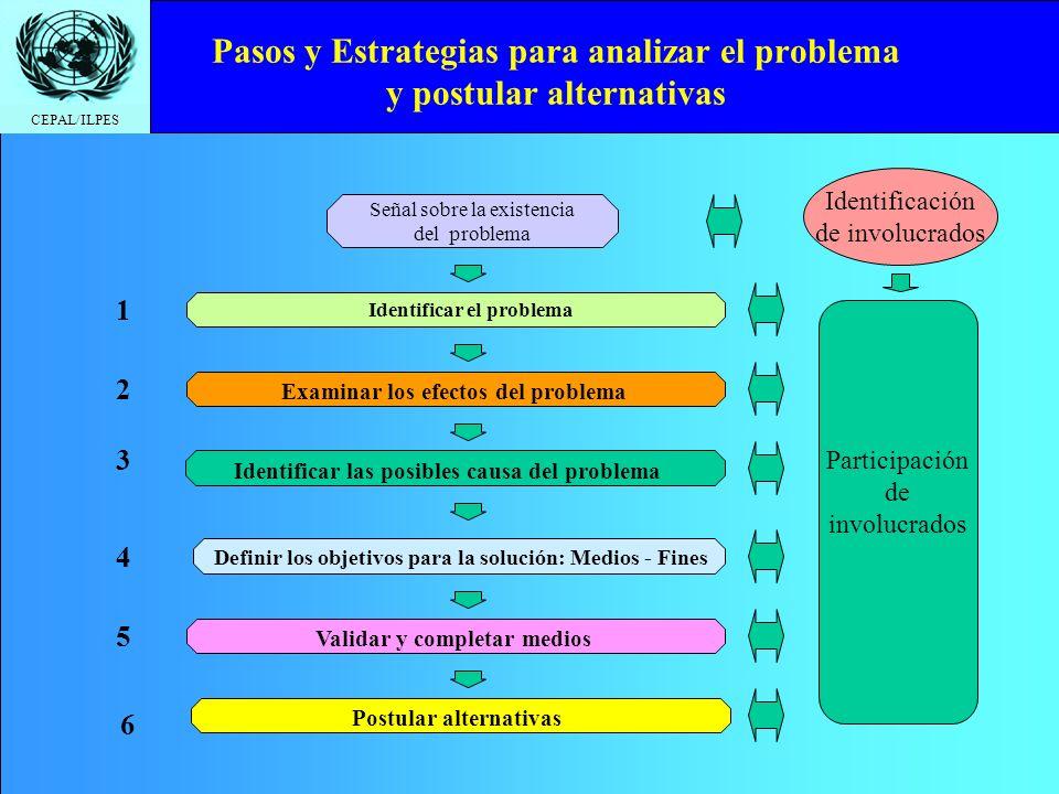 CEPAL/ILPES Pasos y Estrategias para analizar el problema y postular alternativas Identificar el problema Examinar los efectos del problema Identifica