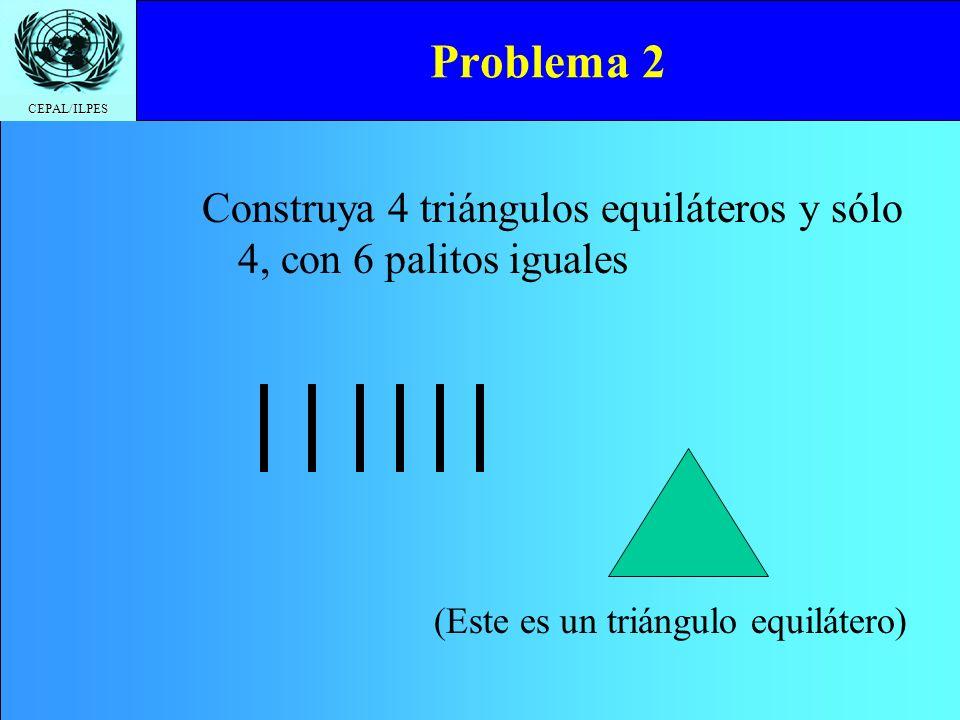 CEPAL/ILPES Problema 2 Construya 4 triángulos equiláteros y sólo 4, con 6 palitos iguales (Este es un triángulo equilátero)