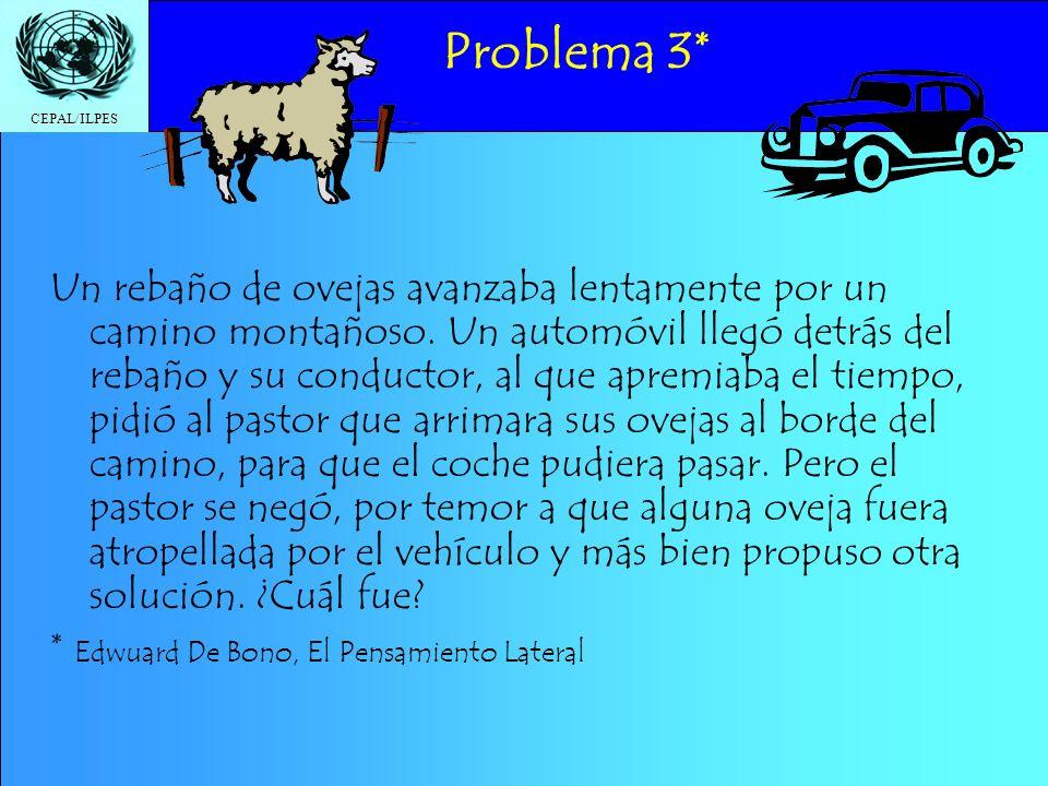 CEPAL/ILPES Problema 3* Un rebaño de ovejas avanzaba lentamente por un camino montañoso. Un automóvil llegó detrás del rebaño y su conductor, al que a