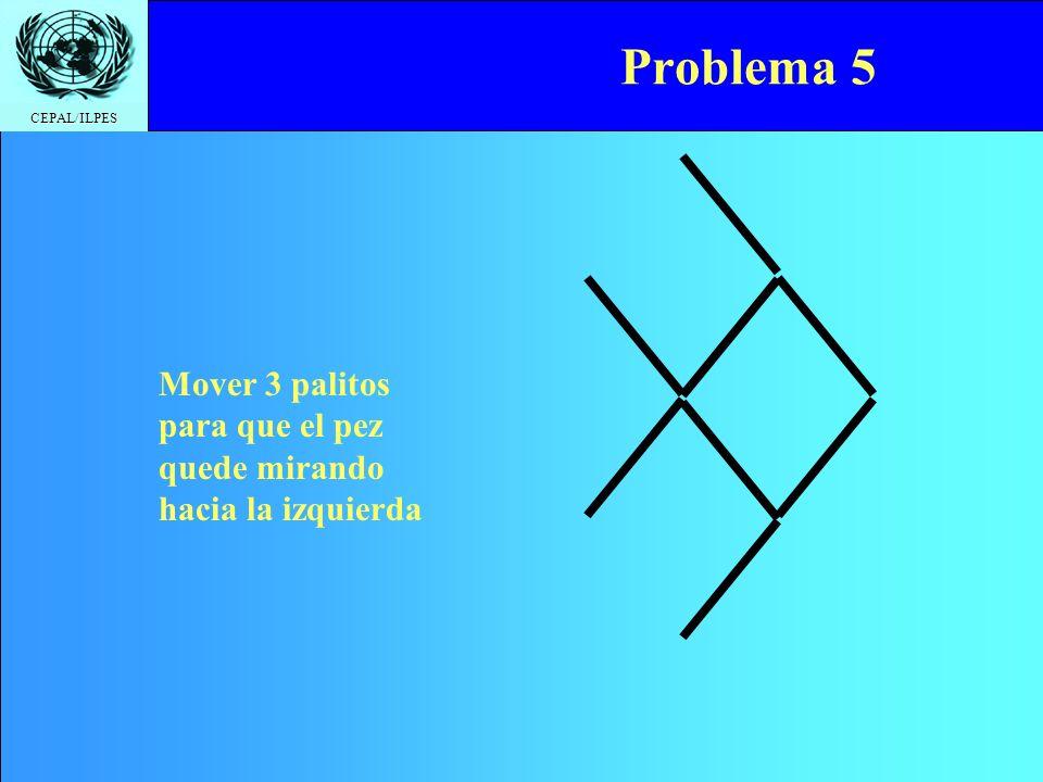 CEPAL/ILPES Problema 5 Mover 3 palitos para que el pez quede mirando hacia la izquierda