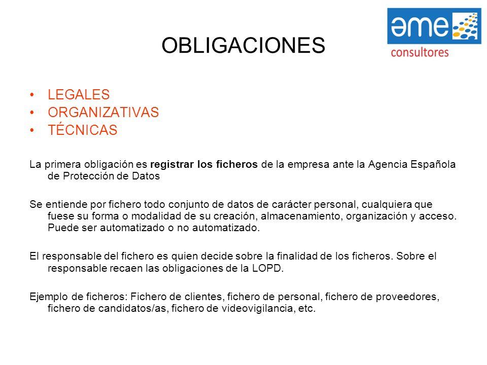 OBLIGACIONES LEGALES ORGANIZATIVAS TÉCNICAS La primera obligación es registrar los ficheros de la empresa ante la Agencia Española de Protección de Da