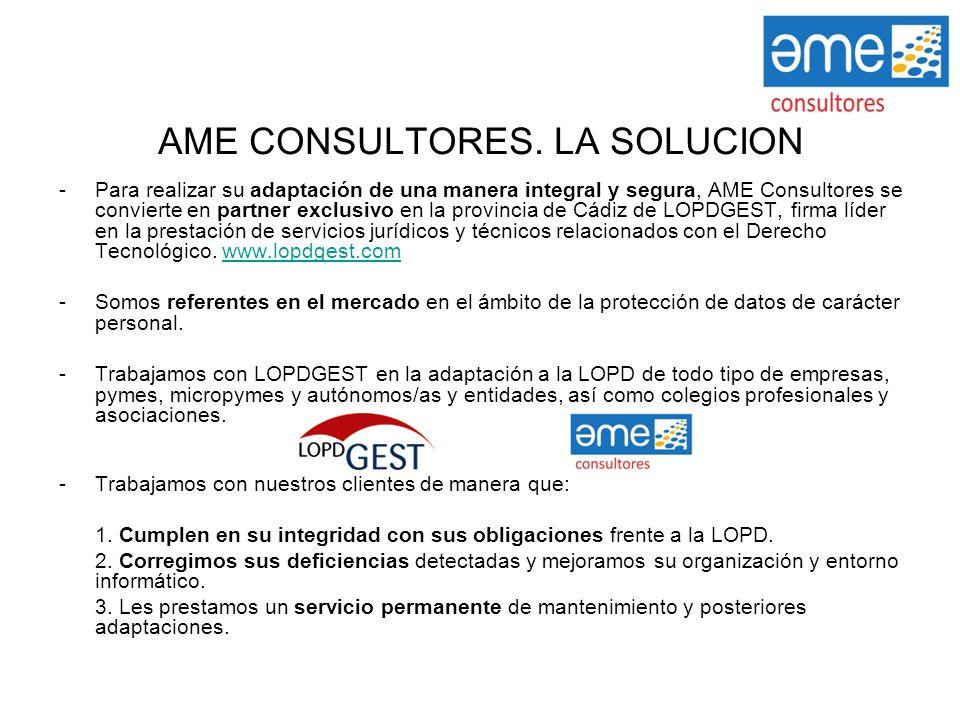 AME CONSULTORES. LA SOLUCIÓN -Para realizar su adaptación de una manera integral y segura, AME Consultores se convierte en partner exclusivo en la pro