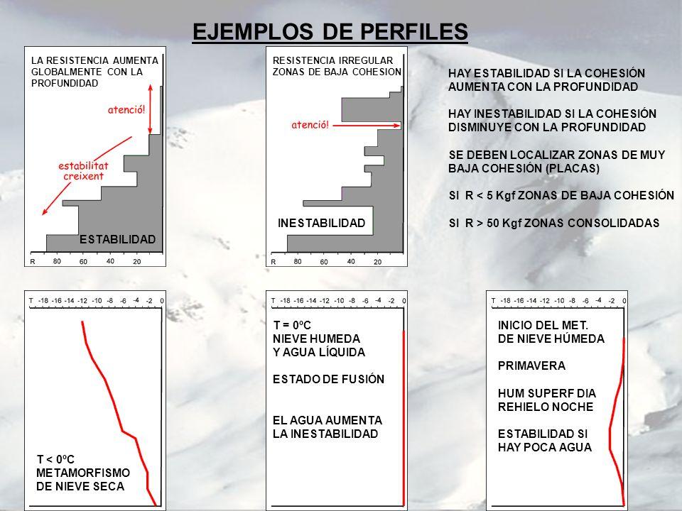 EJEMPLOS DE PERFILES LA RESISTENCIA AUMENTA GLOBALMENTE CON LA PROFUNDIDAD RESISTENCIA IRREGULAR ZONAS DE BAJA COHESION ESTABILIDAD INESTABILIDAD HAY
