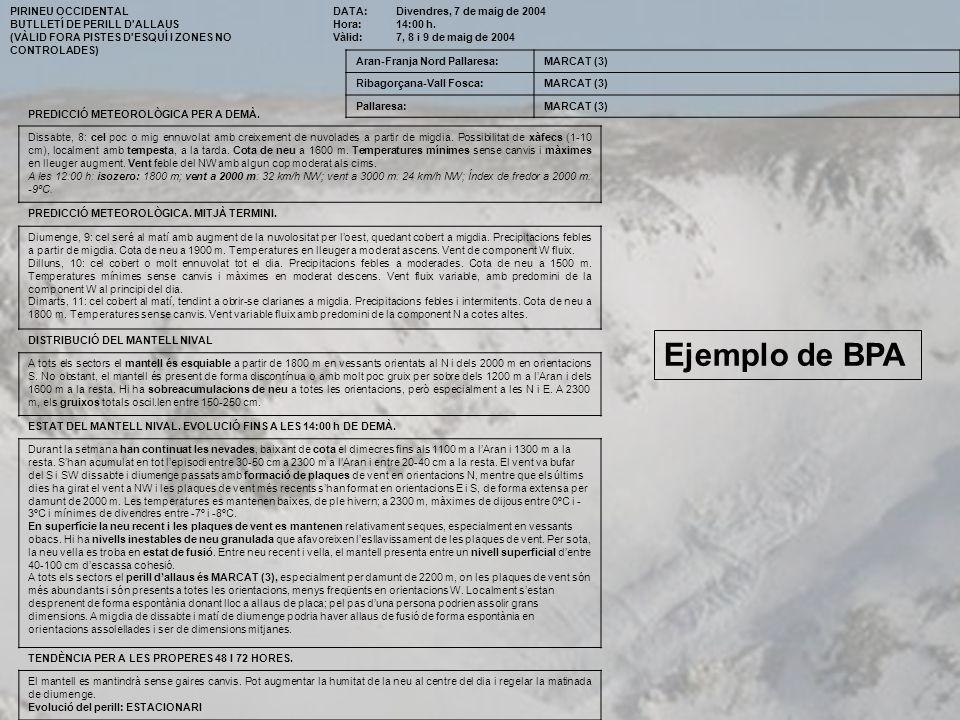 PIRINEU OCCIDENTAL BUTLLETÍ DE PERILL D'ALLAUS (VÀLID FORA PISTES D'ESQUÍ I ZONES NO CONTROLADES) DATA: Hora: Vàlid: Divendres, 7 de maig de 2004 14:0