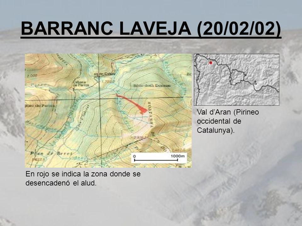 BARRANC LAVEJA (20/02/02) Val dAran (Pirineo occidental de Catalunya). En rojo se indica la zona donde se desencadenó el alud.