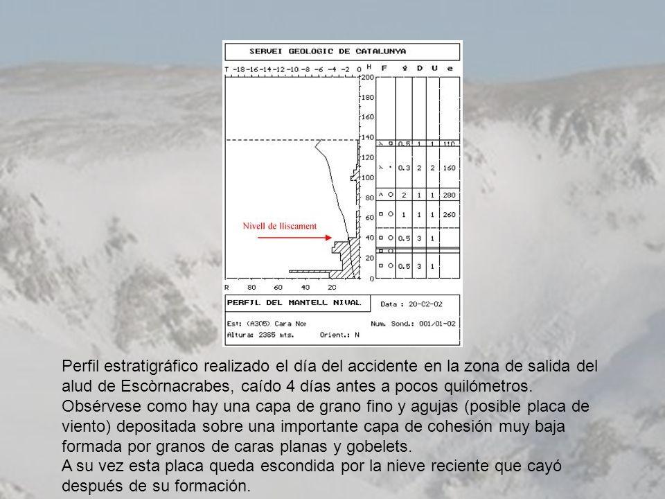 Perfil estratigráfico realizado el día del accidente en la zona de salida del alud de Escòrnacrabes, caído 4 días antes a pocos quilómetros. Obsérvese