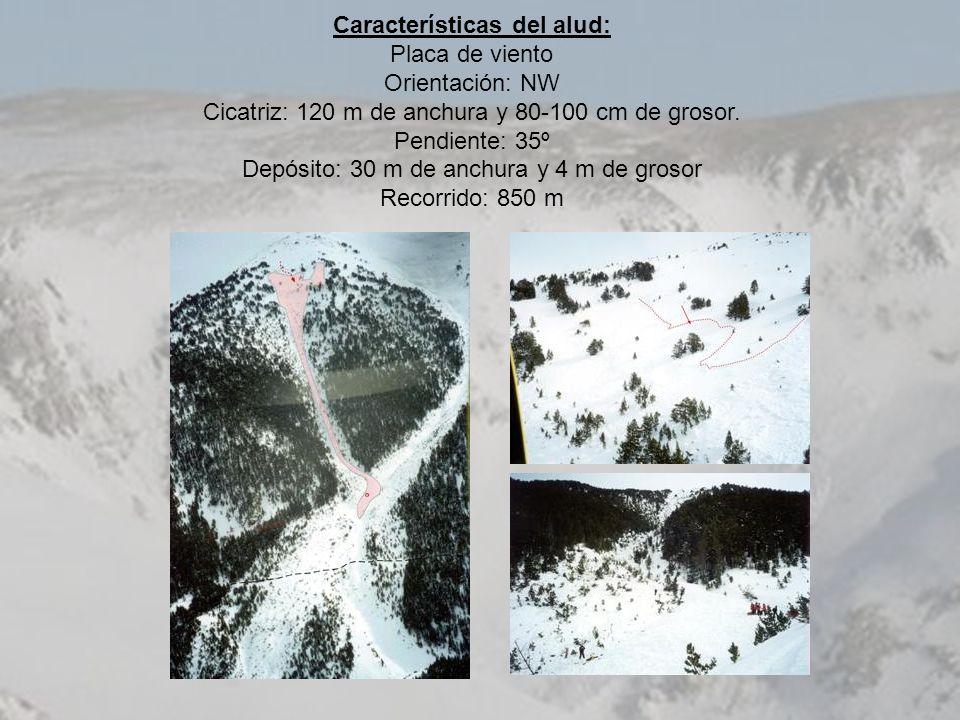 Características del alud: Placa de viento Orientación: NW Cicatriz: 120 m de anchura y 80-100 cm de grosor. Pendiente: 35º Depósito: 30 m de anchura y