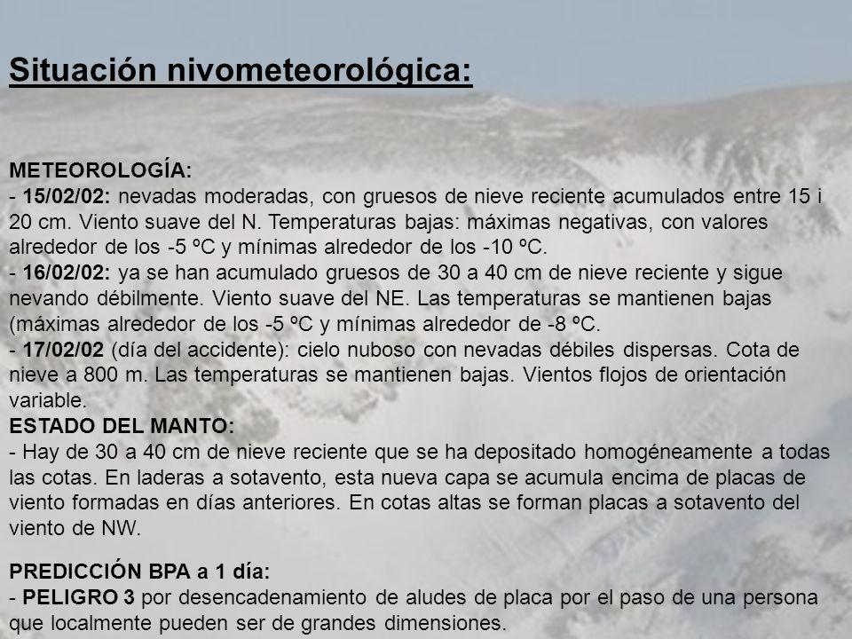 Situación nivometeorológica: METEOROLOGÍA: - 15/02/02: nevadas moderadas, con gruesos de nieve reciente acumulados entre 15 i 20 cm. Viento suave del