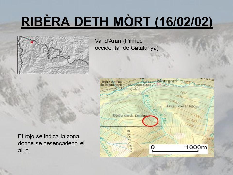 RIBÈRA DETH MÒRT (16/02/02) El rojo se indica la zona donde se desencadenó el alud. Val dAran (Pirineo occidental de Catalunya)