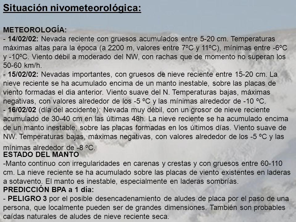Situación nivometeorológica: METEOROLOGÍA: - 14/02/02: Nevada reciente con gruesos acumulados entre 5-20 cm. Temperaturas máximas altas para la época