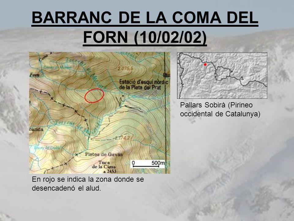 BARRANC DE LA COMA DEL FORN (10/02/02) En rojo se indica la zona donde se desencadenó el alud. Pallars Sobirà (Pirineo occidental de Catalunya)