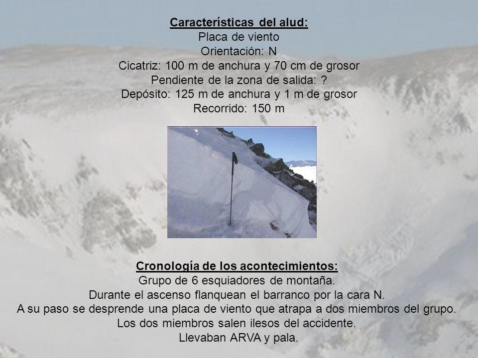 Características del alud: Placa de viento Orientación: N Cicatriz: 100 m de anchura y 70 cm de grosor Pendiente de la zona de salida: ? Depósito: 125