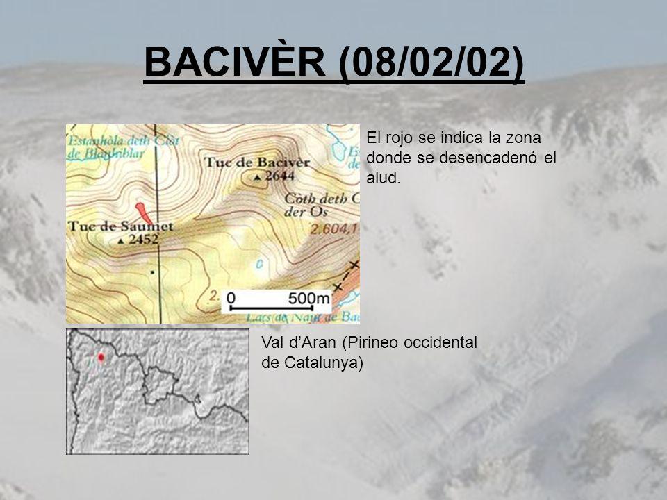 BACIVÈR (08/02/02) El rojo se indica la zona donde se desencadenó el alud. Val dAran (Pirineo occidental de Catalunya)