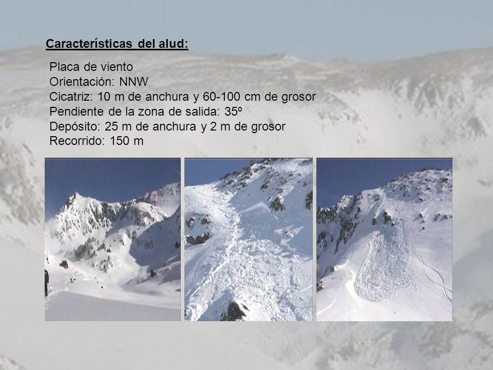Características del alud: Placa de viento Orientación: NNW Cicatriz: 10 m de anchura y 60-100 cm de grosor Pendiente de la zona de salida: 35º Depósit