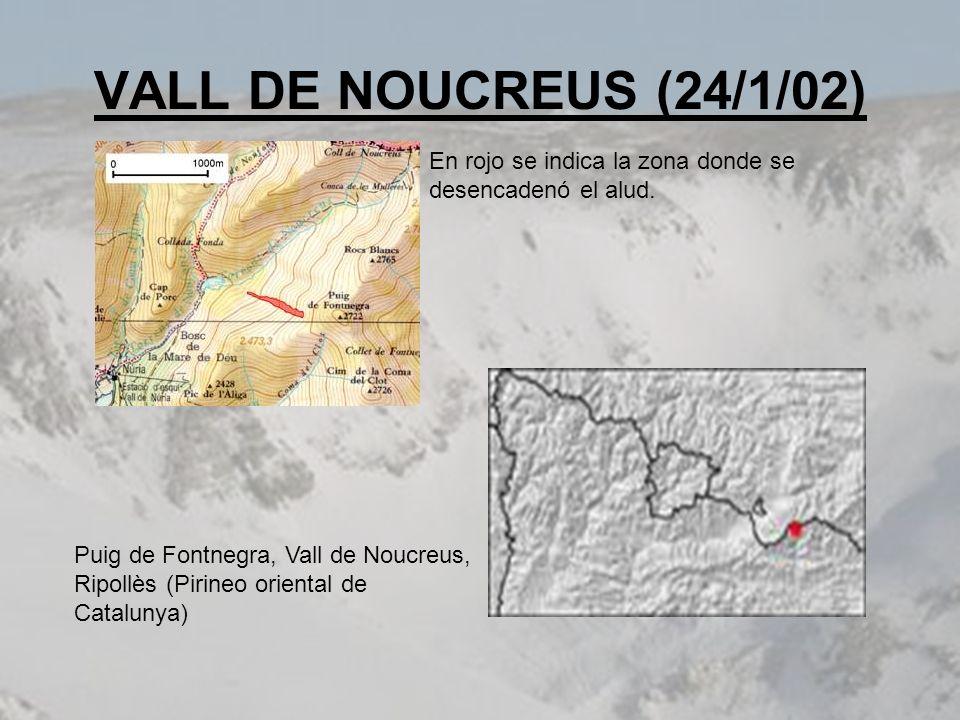 VALL DE NOUCREUS (24/1/02) En rojo se indica la zona donde se desencadenó el alud. Puig de Fontnegra, Vall de Noucreus, Ripollès (Pirineo oriental de