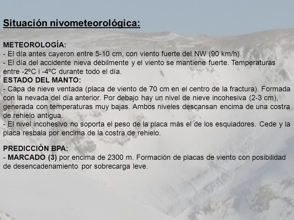 Situación nivometeorológica: METEOROLOGÍA: - El día antes cayeron entre 5-10 cm, con viento fuerte del NW (90 km/h). - El día del accidente nieva débi