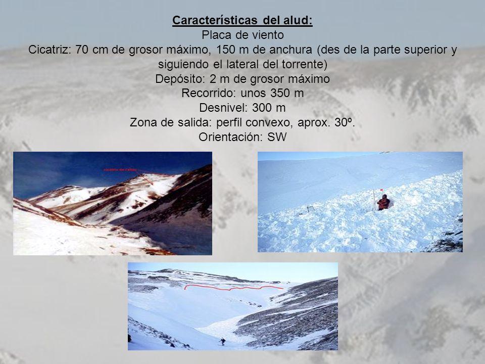 Características del alud: Placa de viento Cicatriz: 70 cm de grosor máximo, 150 m de anchura (des de la parte superior y siguiendo el lateral del torr