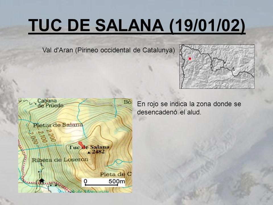 TUC DE SALANA (19/01/02) En rojo se indica la zona donde se desencadenó el alud. Val d'Aran (Pirineo occidental de Catalunya)