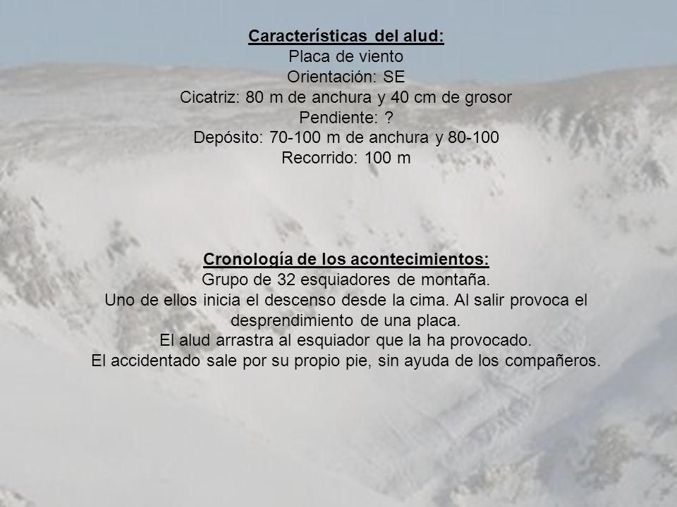 Características del alud: Placa de viento Orientación: SE Cicatriz: 80 m de anchura y 40 cm de grosor Pendiente: ? Depósito: 70-100 m de anchura y 80-