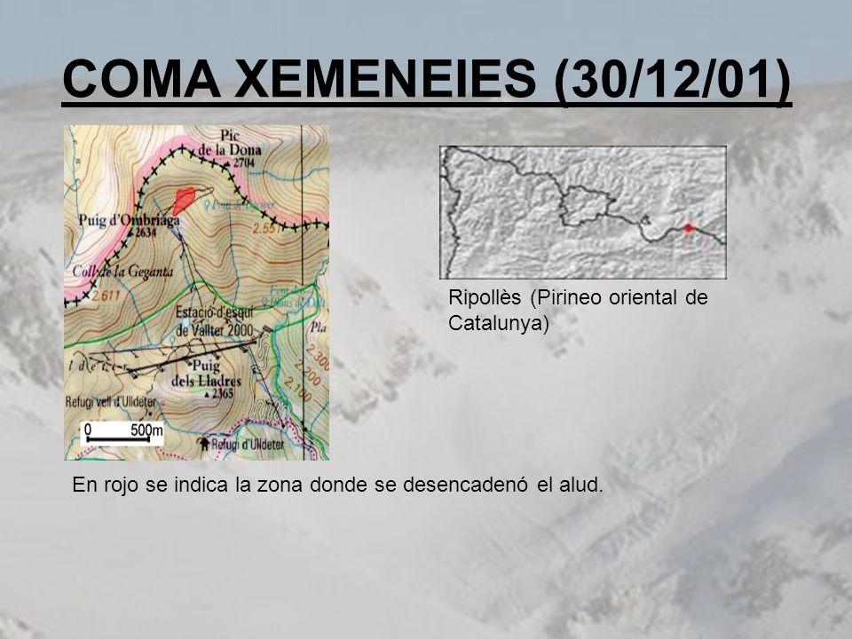 COMA XEMENEIES (30/12/01) En rojo se indica la zona donde se desencadenó el alud. Ripollès (Pirineo oriental de Catalunya)