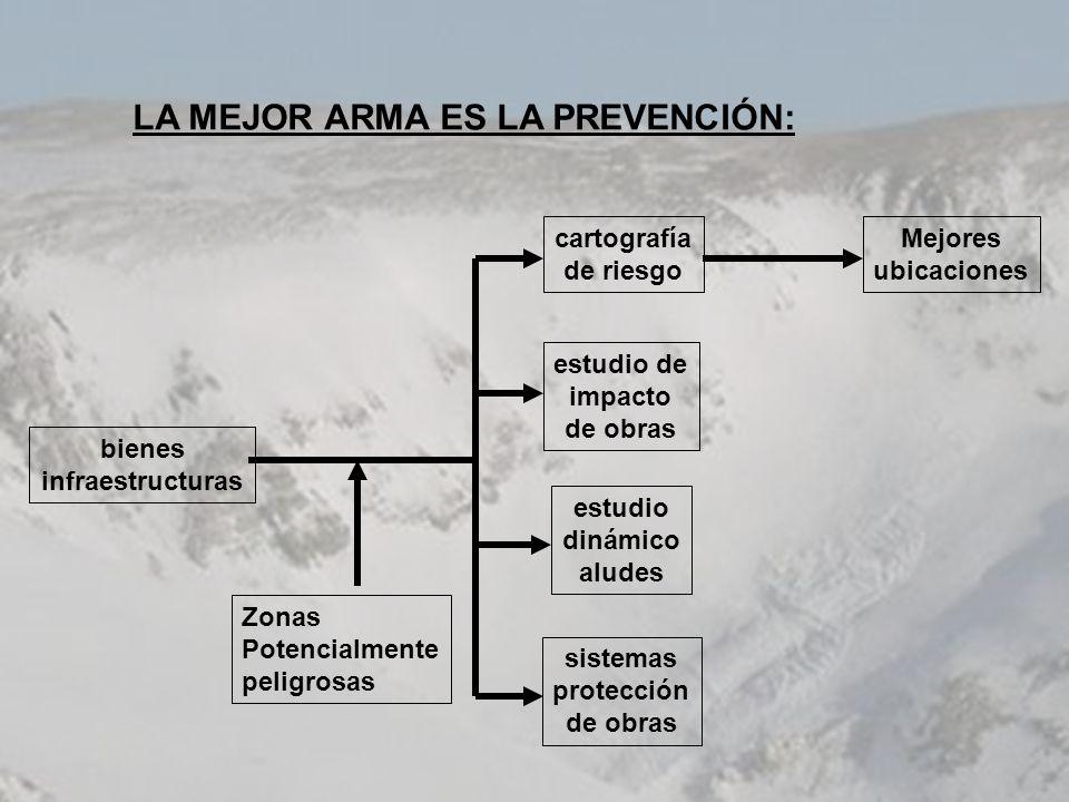 LA MEJOR ARMA ES LA PREVENCIÓN: bienes infraestructuras cartografía de riesgo estudio de impacto de obras estudio dinámico aludes sistemas protección