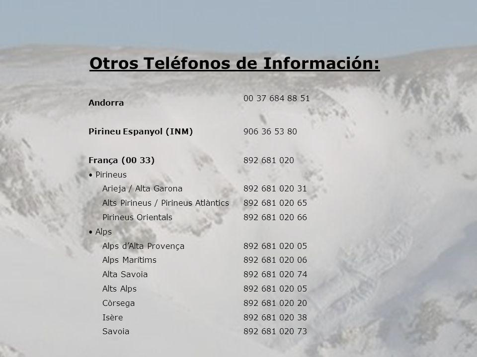 Otros Teléfonos de Información: Andorra 00 37 684 88 51 Pirineu Espanyol (INM)906 36 53 80 França (00 33)892 681 020 Pirineus Arieja / Alta Garona892