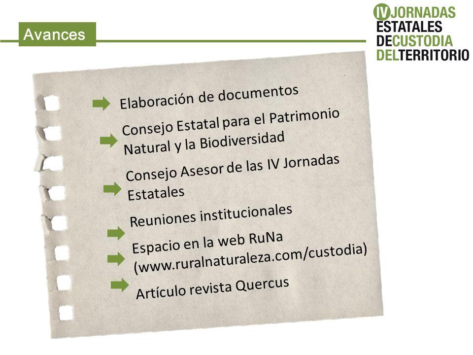 Avances Elaboración de documentos Consejo Estatal para el Patrimonio Natural y la Biodiversidad Consejo Asesor de las IV Jornadas Estatales Reuniones