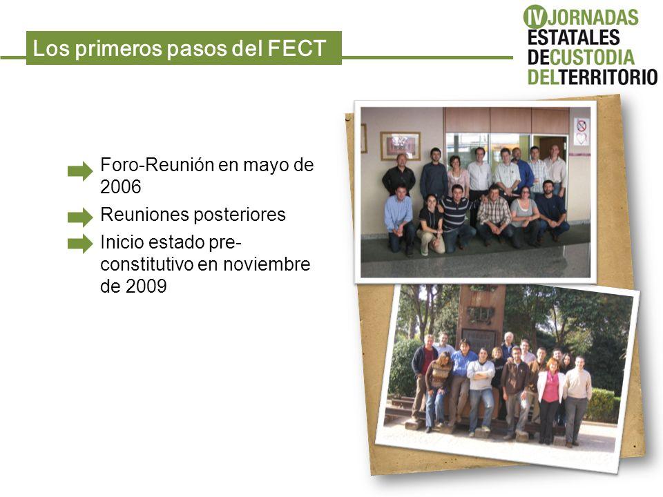 Foro-Reunión en mayo de 2006 Reuniones posteriores Inicio estado pre- constitutivo en noviembre de 2009 Los primeros pasos del FECT
