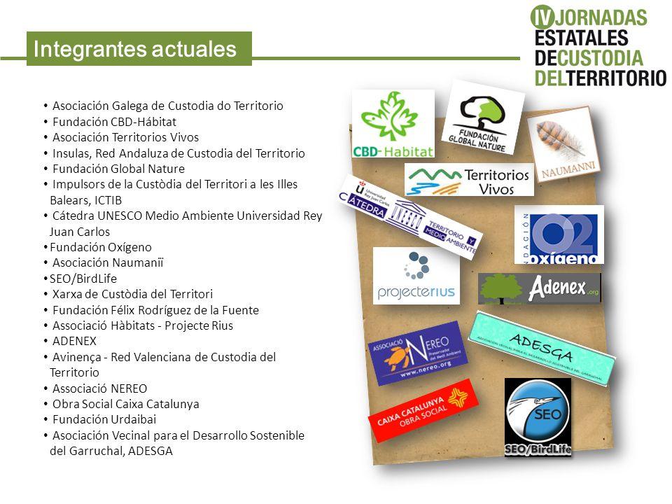 Integrantes actuales Asociación Galega de Custodia do Territorio Fundación CBD-Hábitat Asociación Territorios Vivos Insulas, Red Andaluza de Custodia