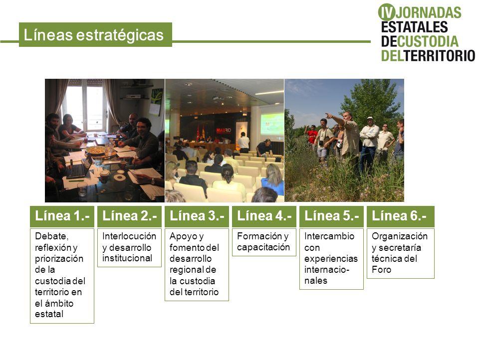 Líneas estratégicas Línea 1.- Debate, reflexión y priorización de la custodia del territorio en el ámbito estatal Línea 2.- Interlocución y desarrollo