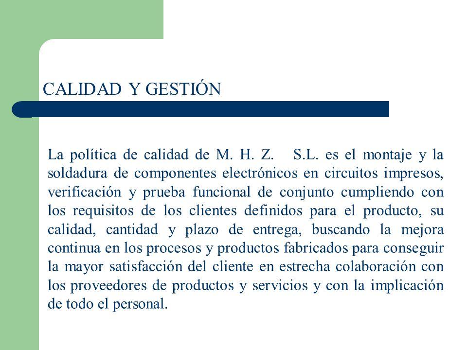 CALIDAD Y GESTIÓN La política de calidad de M. H. Z. S.L. es el montaje y la soldadura de componentes electrónicos en circuitos impresos, verificación