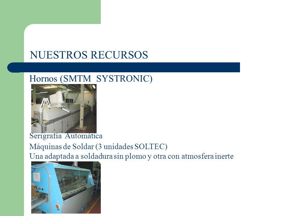 NUESTROS RECURSOS Hornos (SMTM SYSTRONIC) Serigrafía Automática Máquinas de Soldar (3 unidades SOLTEC) Una adaptada a soldadura sin plomo y otra con atmosfera inerte