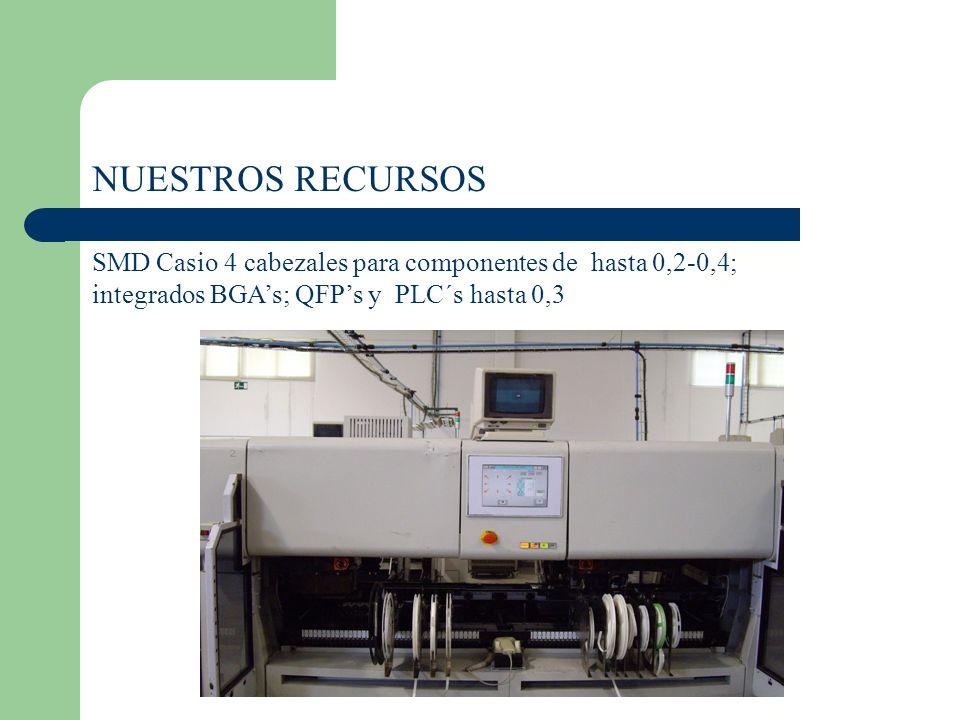 NUESTROS RECURSOS SMD Casio 4 cabezales para componentes de hasta 0,2-0,4; integrados BGAs; QFPs y PLC´s hasta 0,3