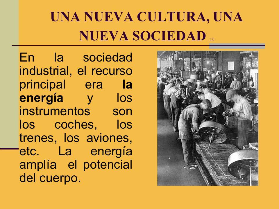 En la sociedad industrial, el recurso principal era la energía y los instrumentos son los coches, los trenes, los aviones, etc. La energía amplía el p