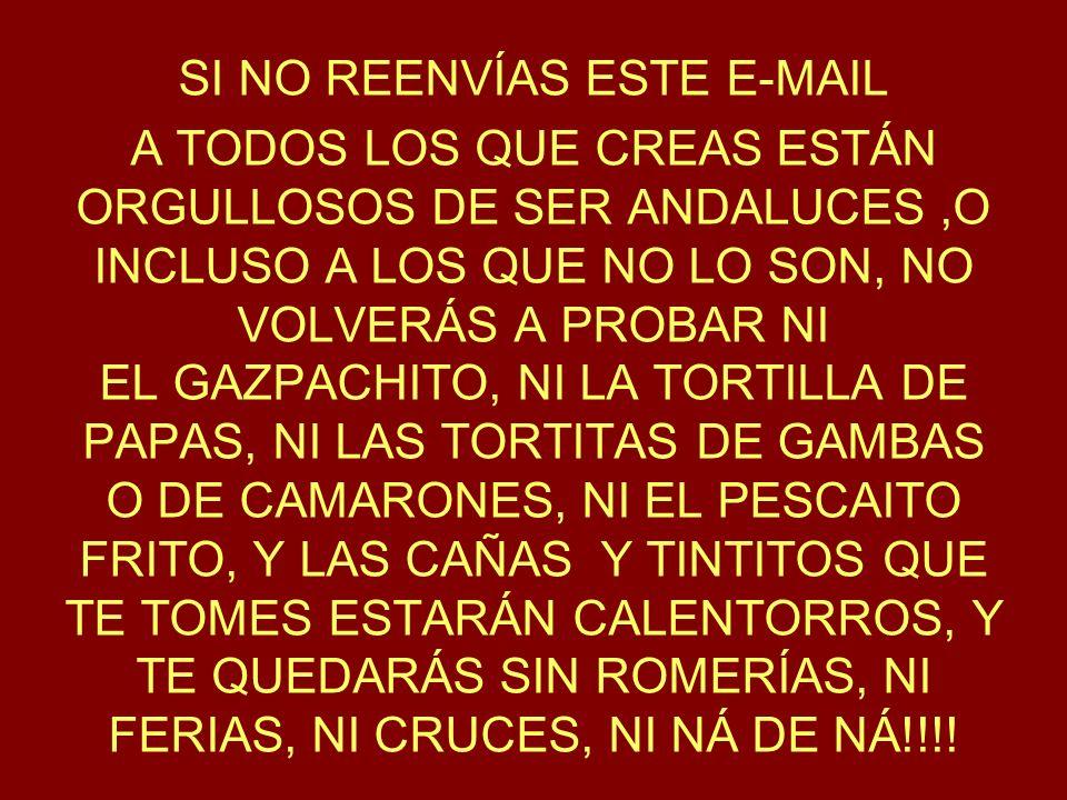SI NO REENVÍAS ESTE E-MAIL A TODOS LOS QUE CREAS ESTÁN ORGULLOSOS DE SER ANDALUCES,O INCLUSO A LOS QUE NO LO SON, NO VOLVERÁS A PROBAR NI EL GAZPACHITO, NI LA TORTILLA DE PAPAS, NI LAS TORTITAS DE GAMBAS O DE CAMARONES, NI EL PESCAITO FRITO, Y LAS CAÑAS Y TINTITOS QUE TE TOMES ESTARÁN CALENTORROS, Y TE QUEDARÁS SIN ROMERÍAS, NI FERIAS, NI CRUCES, NI NÁ DE NÁ!!!!