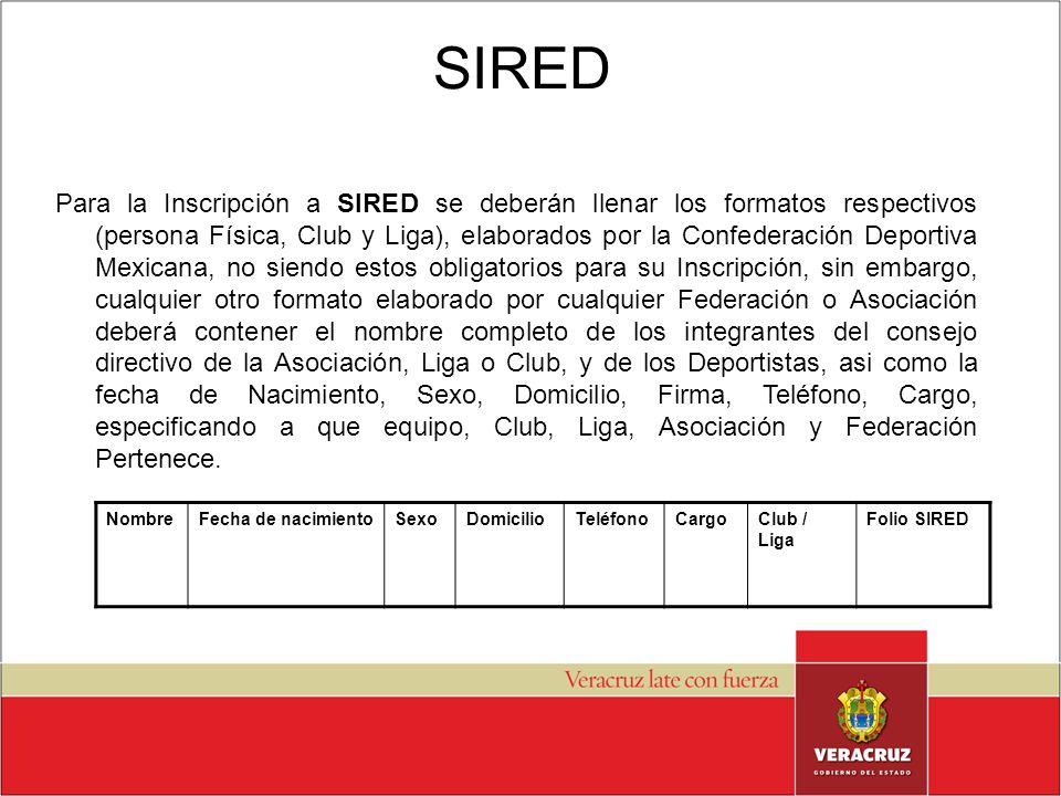 Para la Inscripción a SIRED se deberán llenar los formatos respectivos (persona Física, Club y Liga), elaborados por la Confederación Deportiva Mexica