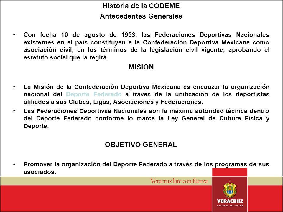 Historia de la CODEME Antecedentes Generales Con fecha 10 de agosto de 1953, las Federaciones Deportivas Nacionales existentes en el país constituyen